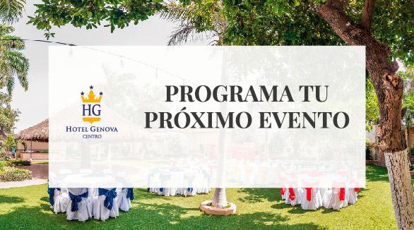 Banner programa tu próximo evento en el Hotel Génova Centro